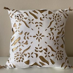 Anthropologie White  Leather Gold Inlay Pillow